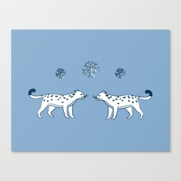 snow leopard pals Canvas Print