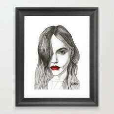 Sasha with Red Lips Framed Art Print