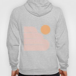 Mid Century Modern Geometric 59 in Coral Shades (Rainbow and Sunrise Abstraction) Hoody