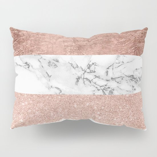 Modern chic color block rose gold marble stripes pattern Pillow Sham by Girly Trend Society6
