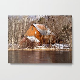 Country Barns on the Medway River, Mill Village, Nova Scotia Metal Print