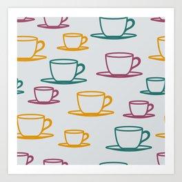 Teacups - multicolored Art Print