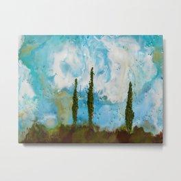 Tuscan Sunset original Encaustic wax painting by Seasons Kaz Sparks Metal Print