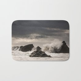 Waves Batter the Ocean Rocks During Rough Weather at Harris Beach State Park in Brookings, Oregon Bath Mat