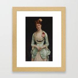 Alexandre Cabanel 1823 - 1889 PORTRAIT OF MISSMATTHEWS, IN GREEN SILK SATIN AND LACE GOWN Framed Art Print