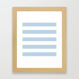 Beau blue - solid color - white stripes pattern Framed Art Print