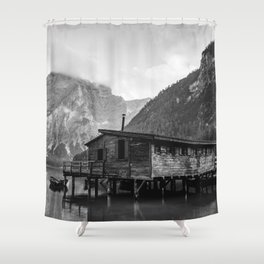 House on Water (Black and White) Shower Curtain