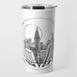 the city of New York in a suspended bowl . artwork Travel Mug