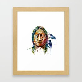 Sitting Bull watercolor painting Framed Art Print