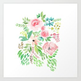 Rose Loose Watercolor Bouquet Art Print