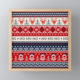 Ugly sweater Merry Christmas Happy New Year vintage nodric illustration knitted pattern folk style scandinavian ornaments. Ho Ho Ho. Raindeer. Heart. Framed Mini Art Print