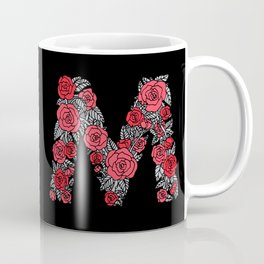 Floral Type - Letter M - Black and Blush Coffee Mug