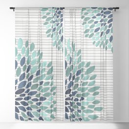 Floral Prints, Gray, Teal and Blue, Abstract Art Sheer Curtain