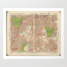 Bacon's Pocket Atlas of London (1921) - 34 Clapham, Balham, Brixton, Tooting Bec, Streatham Hill Art Print