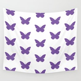 Purple Butterfly Pattern and Print Wall Tapestry