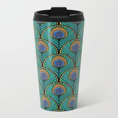 Glitzy Peacock Feathers Metal Travel Mug
