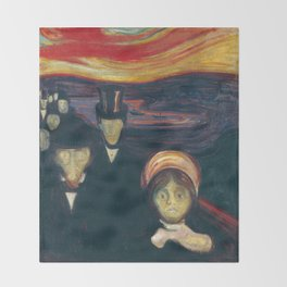Anxiety by Edvard Munch Throw Blanket