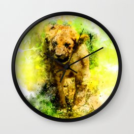 Baby lion in watercolor Wall Clock
