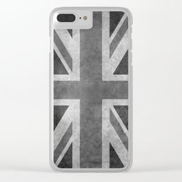 British Union Jack flag 1:2 scale retro grunge Clear iPhone Case