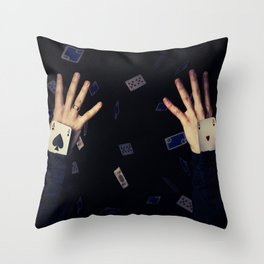 aces in sleeve Throw Pillow