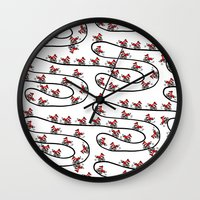 cycling Wall Clocks featuring Cycling Foxes by Woolpecula