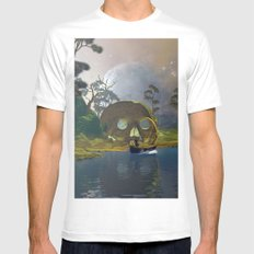 Fantasy landscape wiht lamp boat White Mens Fitted Tee MEDIUM