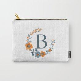 Monogram B Orange Autumn Floral Wreath Carry-All Pouch