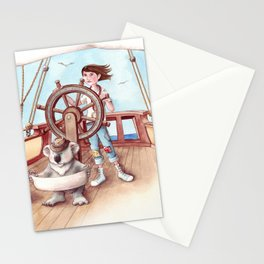 Girl Captain and her Koala Stationery Cards