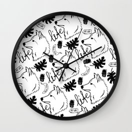 Black white hand drawn wolf floral typography Wall Clock