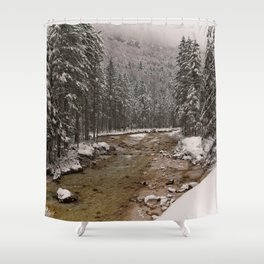 Wintry Sava River At Vrata Valley Shower Curtain