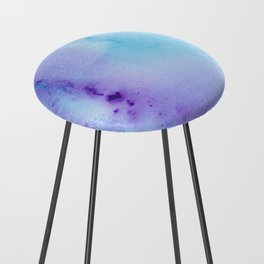 Abstract Watercolor Art Blue And Purple Modern Painting Counter Stool