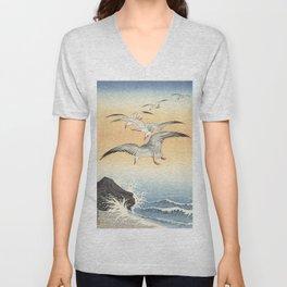 Japanese Seagull Woodblock Print by Ohara Koson Unisex V-Neck