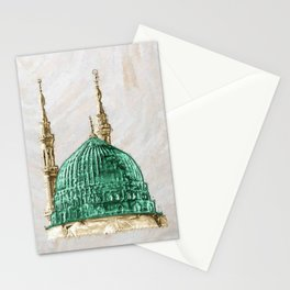 Islamic wall art medina mosques green dome Stationery Cards