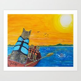 Cats in a boat watching dolphins Art Print