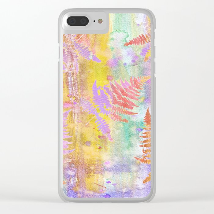 Colorful Fern Leaves W Clear iPhone Case