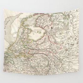 Vintage Map of Holland and Belgium (1775) Wall Tapestry