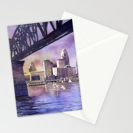 Louisville, KY skyline at sunset.  Watercolor painting of Louisville, Kentucky skyline at sunset Stationery Cards