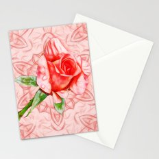 Pink rose on elegant kaleidoscope Stationery Cards