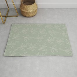 Minimal Line Art Leaf Pattern Sage Green Rug