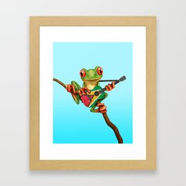 Tree Frog Playing Acoustic Guitar with Flag of Guyana Framed Art Print