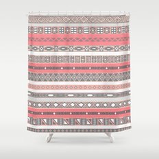 Aztec Print Peach Rose Salmon Grey Shower Curtain