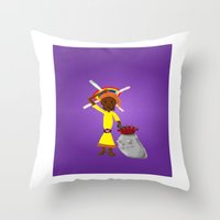 book cover Throw Pillows featuring Kilalu book cover by Vincent Poe