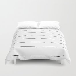Block Print Lines in Black and White Duvet Cover
