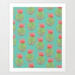 Cactus Bloom Surface Pattern Art Print