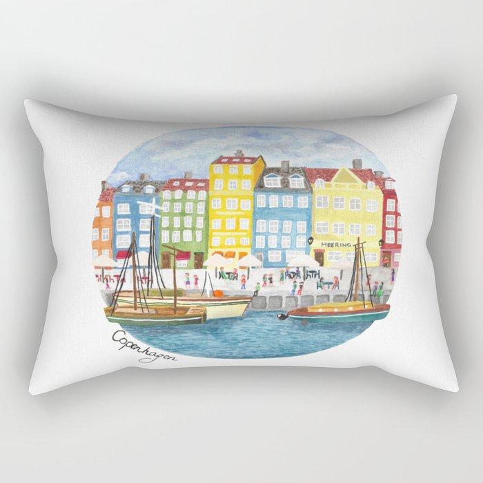 Copenhagen Watercolour Rectangular Pillow