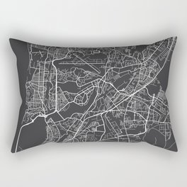 Mumbai Map, India - Gray Rectangular Pillow