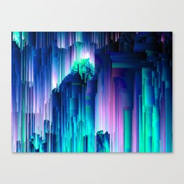 Glitches Be Trippin' - Abstract Pixel Art Canvas Print