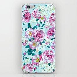 Vintage modern pink green teal watercolor floral iPhone Skin