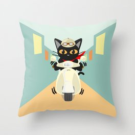 Scooter in the town Throw Pillow