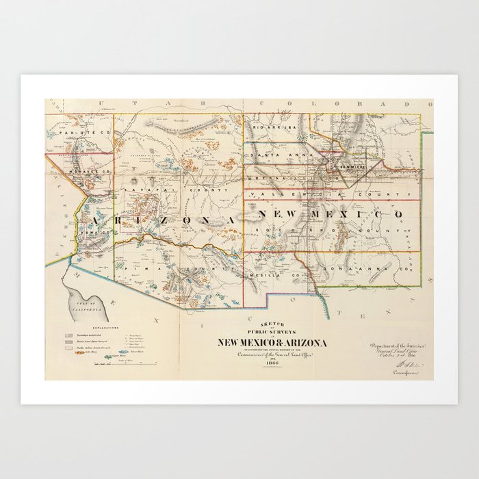 Vintage Map of Arizona and New Mexico (1866) Art Print by ...